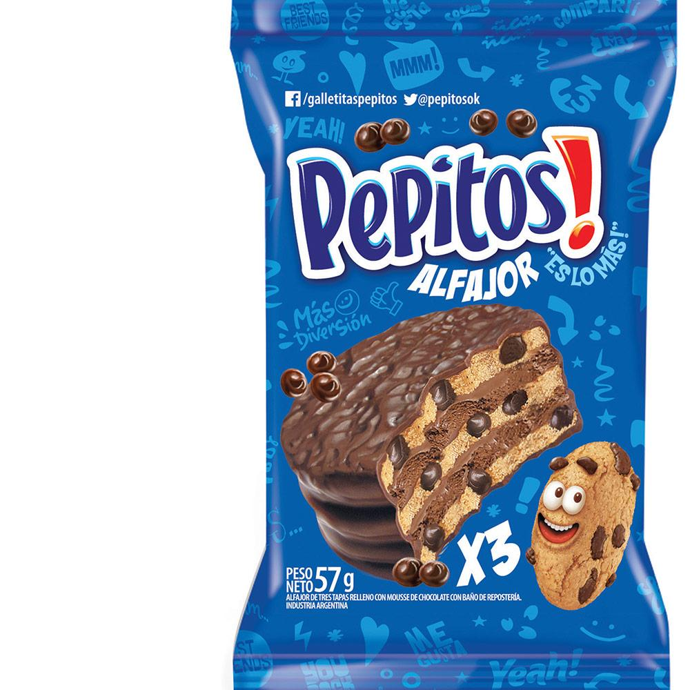 Pepitos Chips Ahoy! Alfajor Triple Milk Chocolate With Chocolate Mousse & Chips / 57g (Pack of 6)