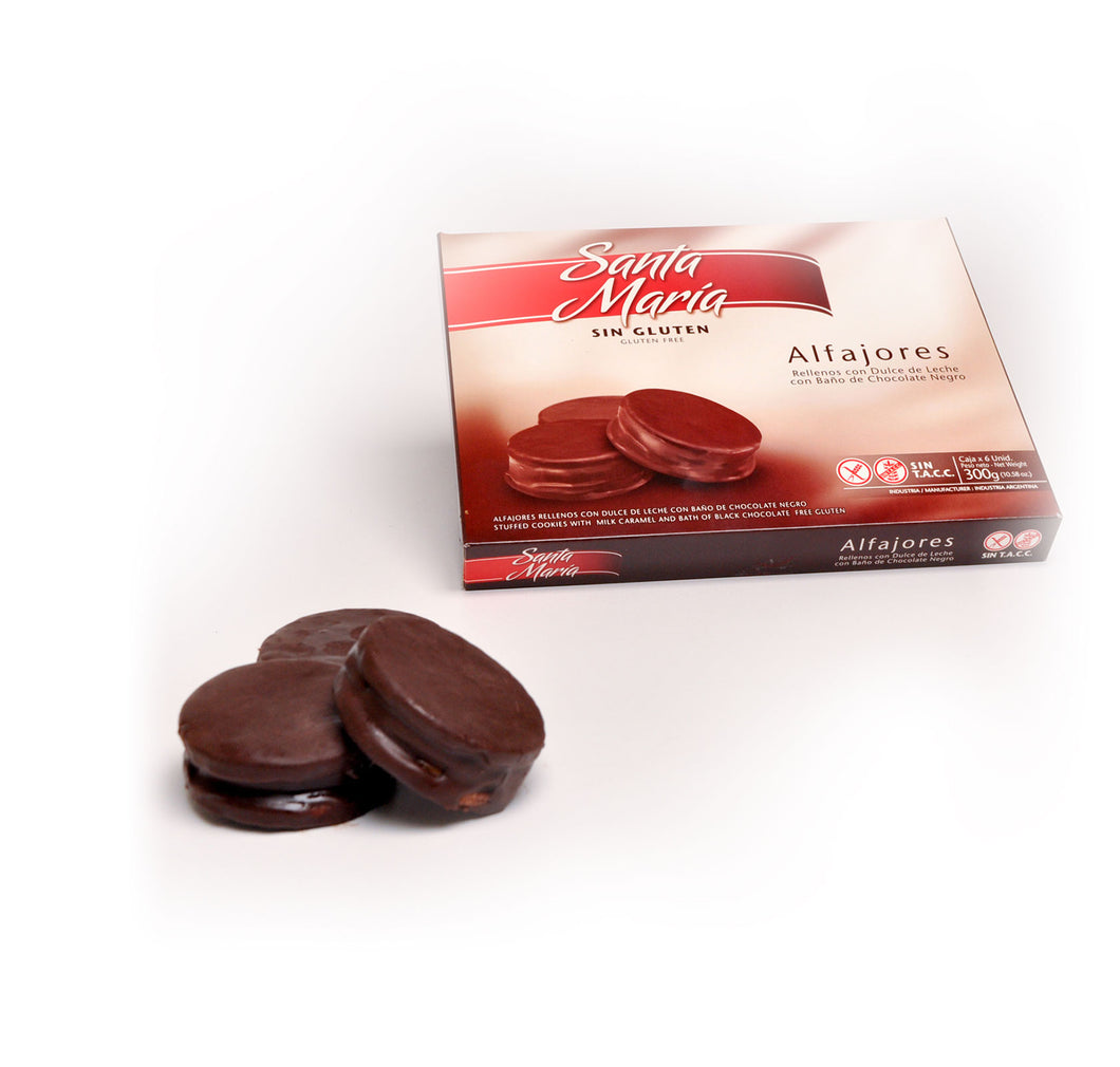 Santa Maria Chocolate covered Alfajor with Dulce de Leche Alfajor Negro con Dulce de Leche GLUTEN FREE / 300g (Pack of 6)