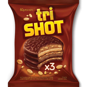 Trishot Chocolate Alfajor with Peanut and Chocolate Mousse (Pack of 3)