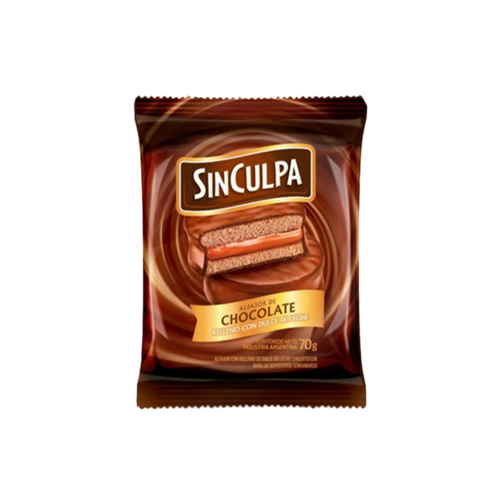 Sin Culpa Alfajor Chocolate con relleno Dulce de Leche / 70g (Pack of 6)
