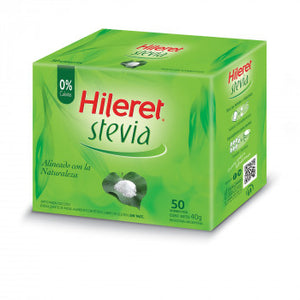 Hileret Edulcorante Stevia Sweetener made with Stevia (50 Packets)