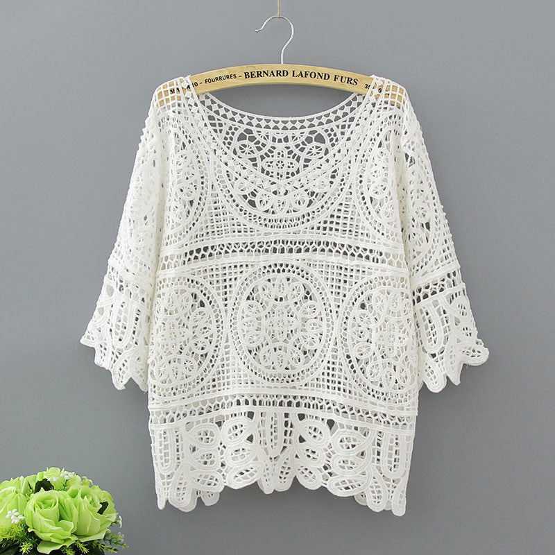 Hollow Out White Blouse Fashion 2018 Summer Crochet Lace Tops Women