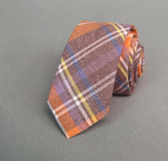 Men's Skinny Plaid Tie - Cotton - Orange Purple