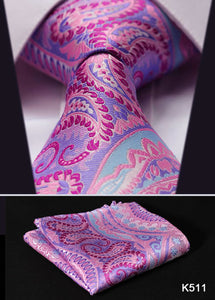 "Men's Paisley Tie - 100% Silk - Pink Purple - 3.4"" Set"