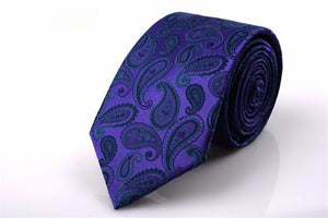 Men's Skinny Paisley Tie - Silk Blend -  Purple - 7cm