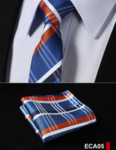 "Men's Slim Tie Check Pattern -Blue Orange-  2.17"" 100% Silk Woven Set"