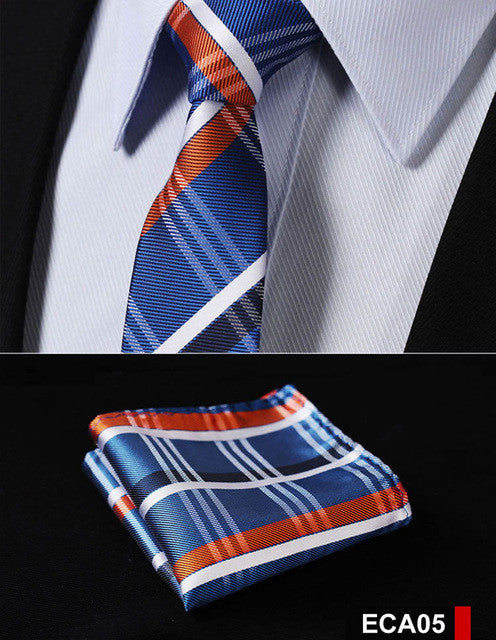 Men's Slim Tie Check Pattern -Blue Orange-  2.17