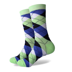 Men's Colorful Argyle Socks - Green Blue - US size (7.5-12)