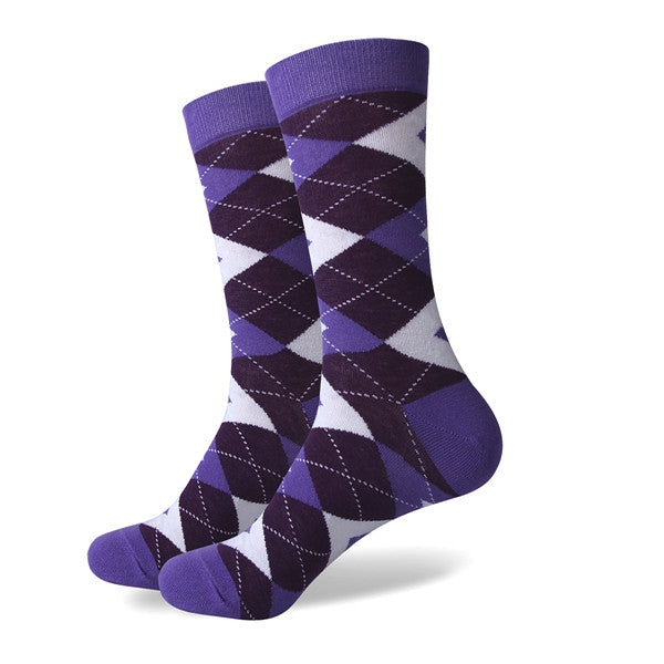 Men's Colorful Argyle Socks - Purple- US size(7.5-12)