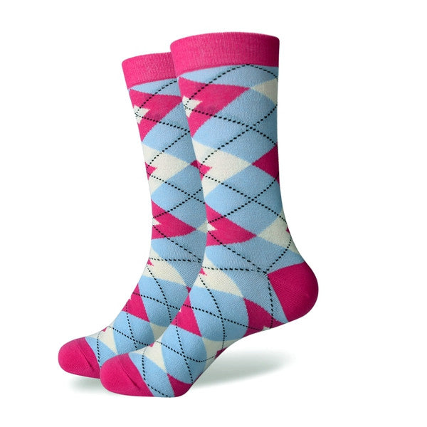 Men's Colorful Argyle Socks - Pink Light Blue - US size (7.5-12)