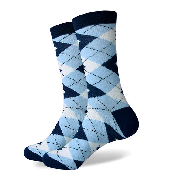 Men's Colorful Argyle Socks -Navy Light Blue - US size (7.5-12)
