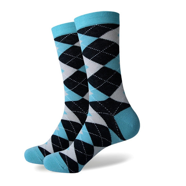 Men's Colorful Argyle Socks - Turquoise- US size(7.5-12)