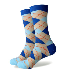 Men's Colorful Argyle Socks -Blue Tan - Stand Out