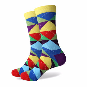 Men's Colorful Argyle Socks - Bold Multi Color - US size (7.5-12)