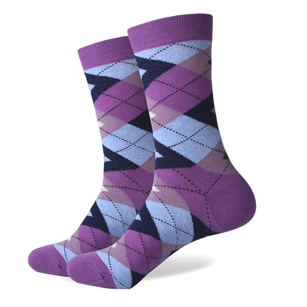 Men's Colorful Argyle Socks - Purple Light Blue - US size (7.5-12)