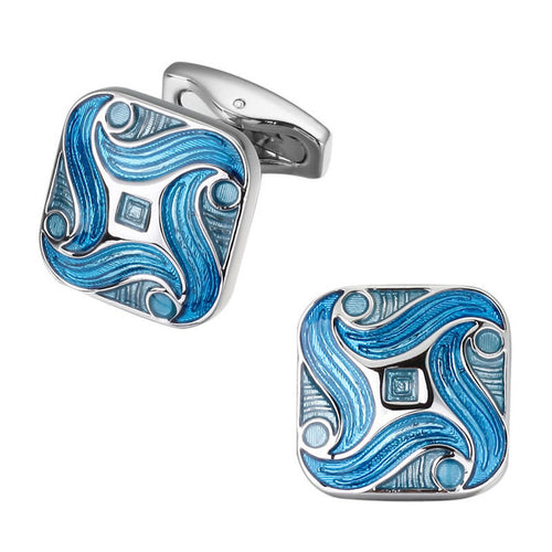 Men's Luxury Cufflinks Collection - Silver Swirl Rounded