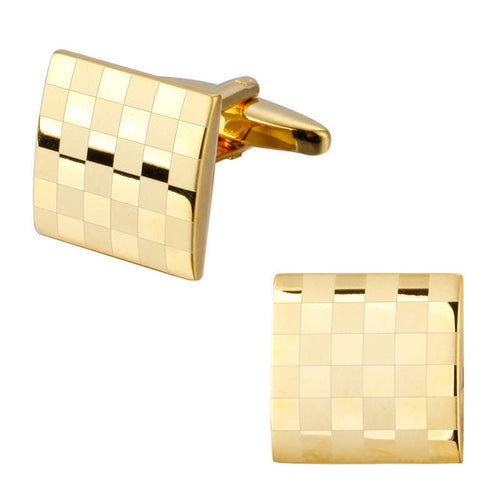 Men's Luxury Cufflinks Collection - Gold Check