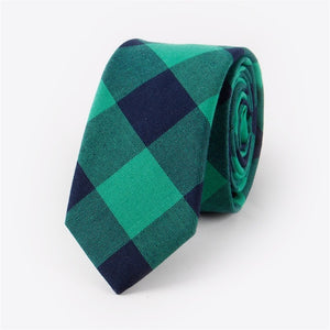 Men's Skinny Check Plaid Tie - 100% Cotton - Green Navy