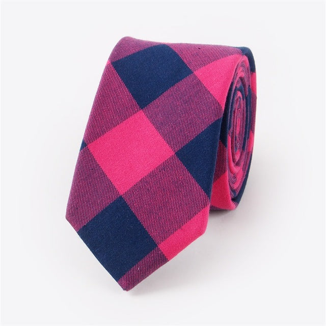 Men's Skinny Check Plaid Tie - 100% Cotton - Pink Navy