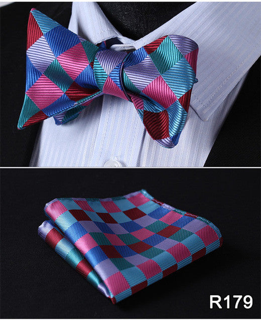 Men's Classic Check Bow Tie - 100% Silk -  Blue Turquoise Set