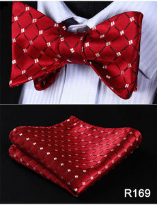 Men's Classic Check Bow Tie - 100% Silk -  Red Set