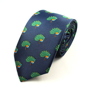 Men's Skinny Tie - Novelty - Navy Peacock - 8cm