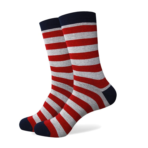 Men's Colorful Striped Socks - Gray Burgundy Black - US (7.5-12)
