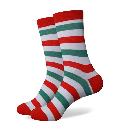 Men's Colorful Striped Socks - Red Gray Green - US (7.5-12)
