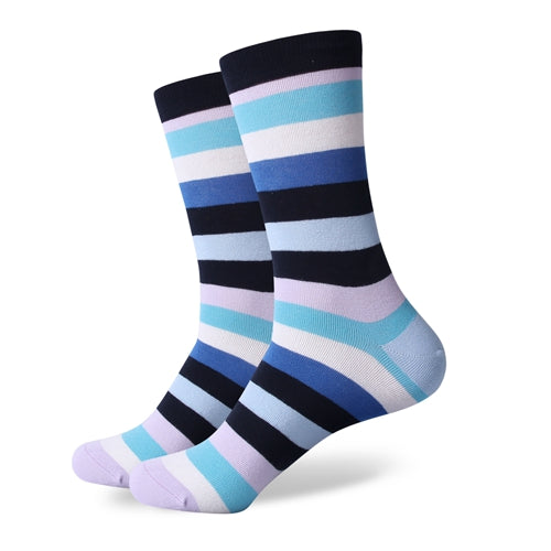 Men's Colorful Striped Socks - Light Purple Black Blue - US (7.5-12)