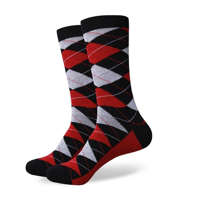 Men's Colorful Argyle Socks - Argyle Black Red Grey - US size (7.5-12)