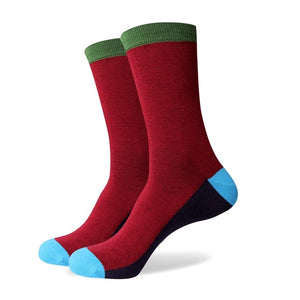 Men's Colorful Pattern Socks - Red Solid Turquoise Tip - US size (7.5-12)