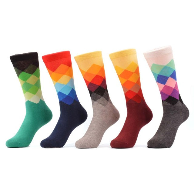 Men's Colorful Argyle Socks - Multi-Color 5 Pair Set