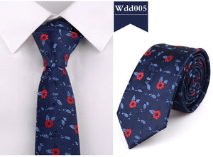Men's Skinny Floral Pattern Tie - Silk Blend - Navy Red - 6cm
