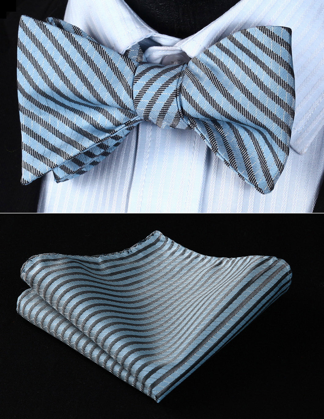 Men's Bow Tie Stripe-100% Silk Set- Blue Gray