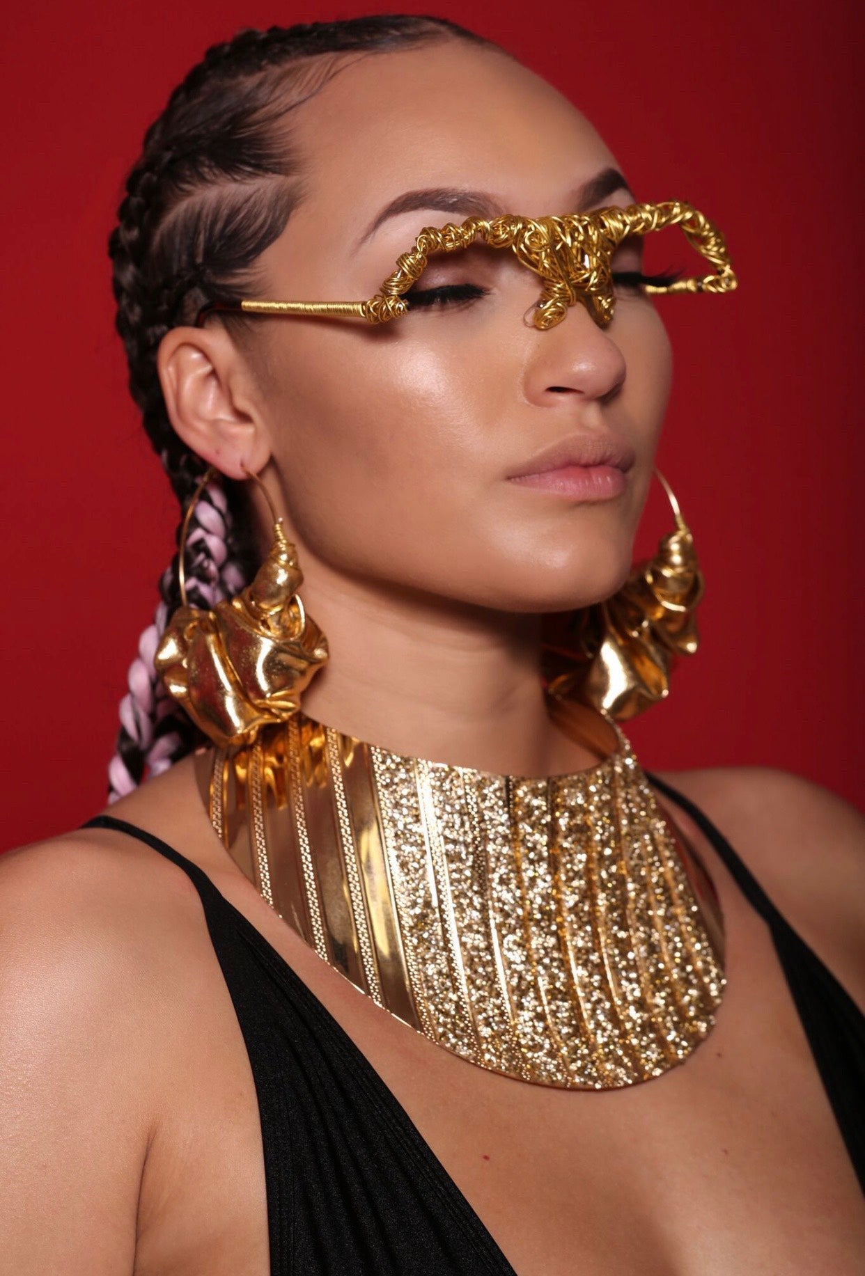Latex Queen Hoops- Gold Shimmer