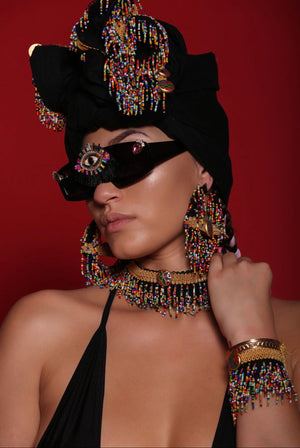 Mali Noir Beaded Head Wrap