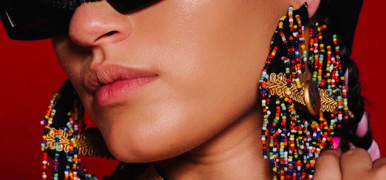 Mali Noir  Beaded Earrings