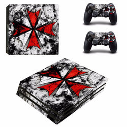 Resident Evil Umbrella PS4 Pro Console Sticker For Sony PlayStation 4 Pro Console Vinyl Decal For Ps4 Pro Controller Skin