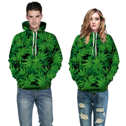 CCG PREMIUM 3D PRINTED UNISEX HOODIE -Green Leaves