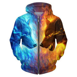 CCG Premium 3D Printed Unisex Hoodie - Animal Ice and Fire Wolf