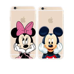 CCG Premium - Free Luxury Mickey/Minnie Protective Transparent Case For Multiple iPhone Models