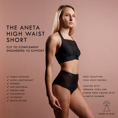 Polewear High Waist 'Aneta' Shorts with mesh side panelling