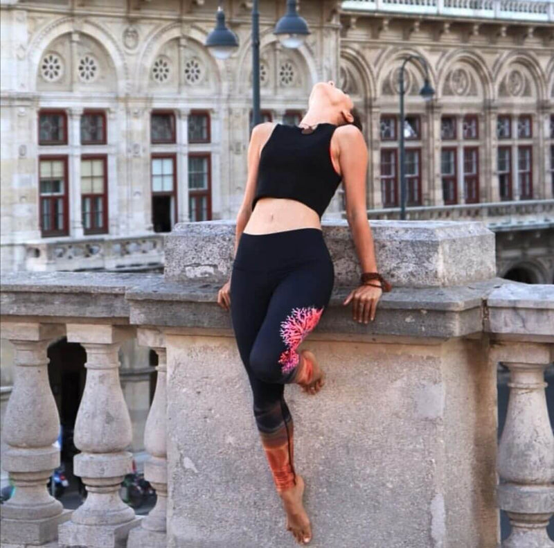 Fire Coral Extra Long High Waisted Eco Leggings by Yogacycled at Life By Equipe