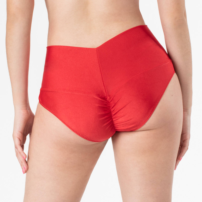 Polewear High Waist Shorts - Red Lycra 'Camila' by TANIT Ibiza