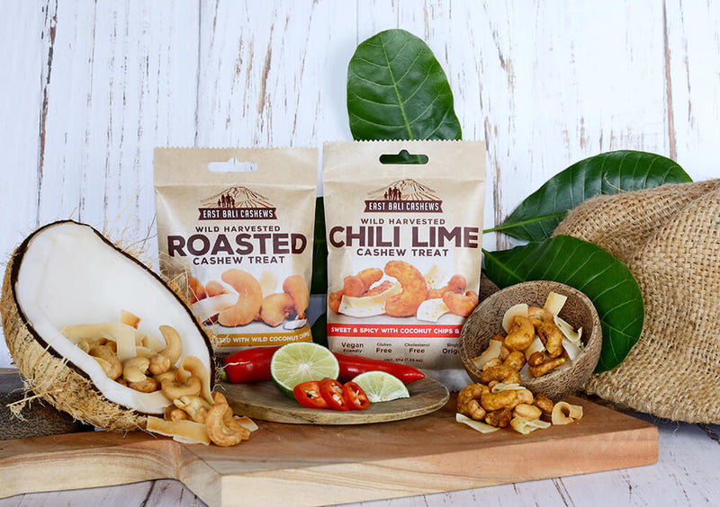 Chilli Lime Cashew Snack Case Of 10 by East Bali Cashews