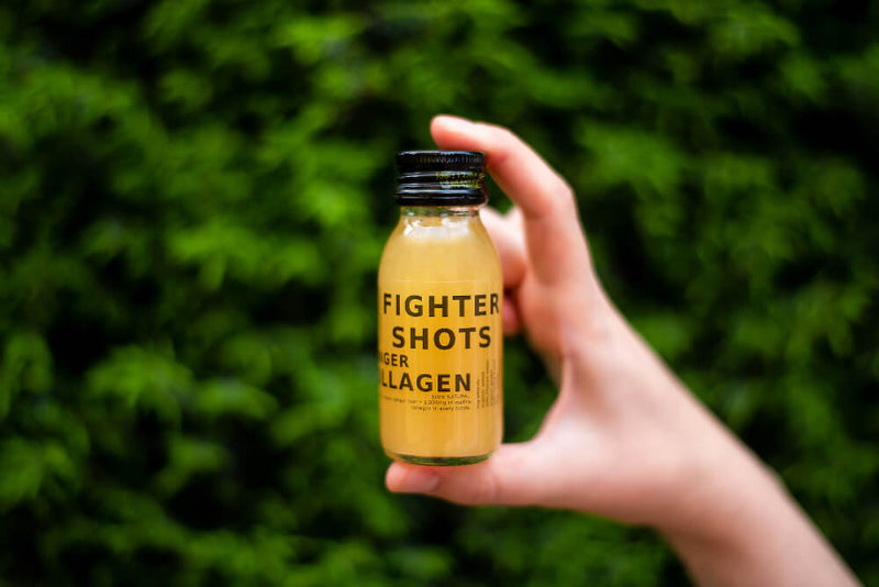100% Natural Cold Pressed Ginger and Marine Collagen 3,000mg Health Shots - Case of 12 Bottles by Fighter Shots