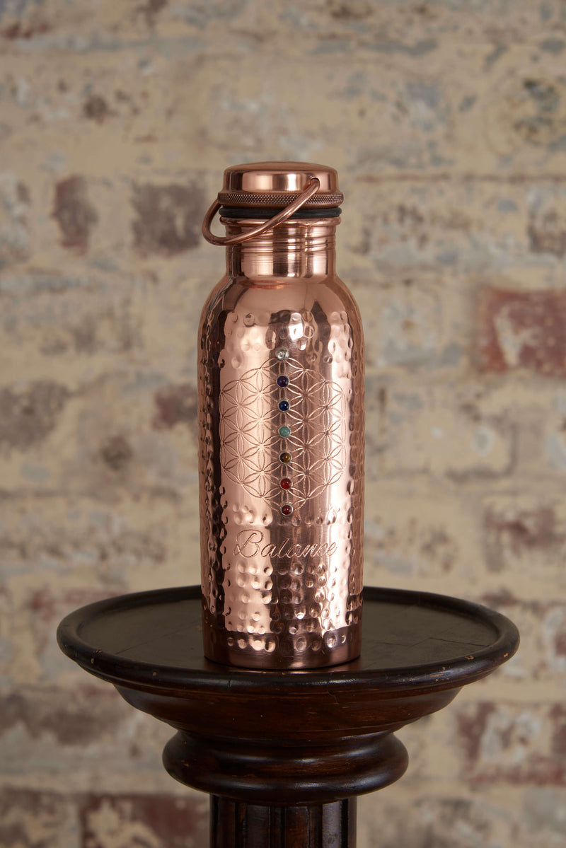 Copper Water Bottle in Balance Mantra 7 Crystals for Ayurveda Wellness by My Copper Cup