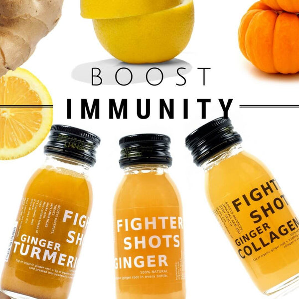 Set of 24x Fighter Shots - Choose Any 2 Flavours Ginger, Turmeric & Marine Collagen health shots