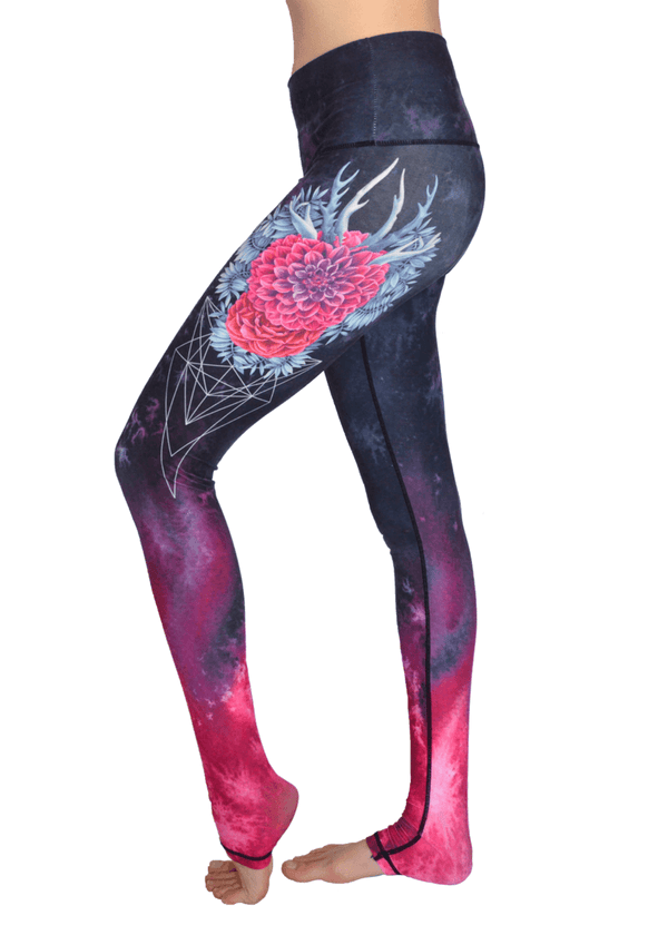 Flower Antlers Extra Long High Waisted Eco Leggings by Yogacycled at Life By Equipe