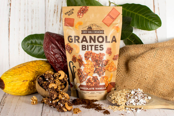 Granola Bites Chocolate Vanilla Case Of 10 by East Bali Cashews